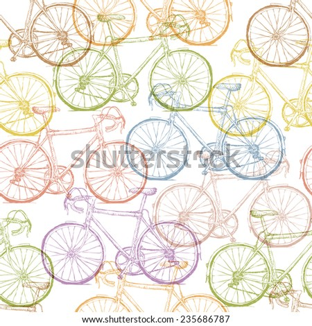 Vintage Bicycle Hand Drawn Seamless Pattern - stock vector