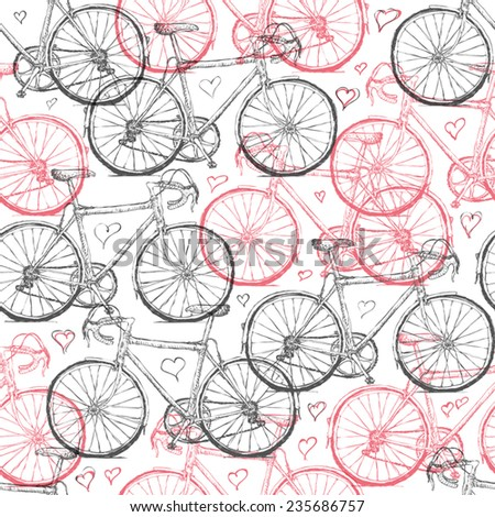 Vintage Bicycle Hand Drawn Seamless Pattern with Hearts - stock vector