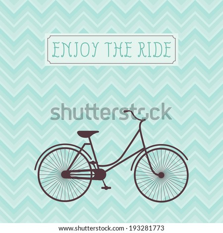 Vintage bicycle silhouette against geometric background vector illustration - stock vector