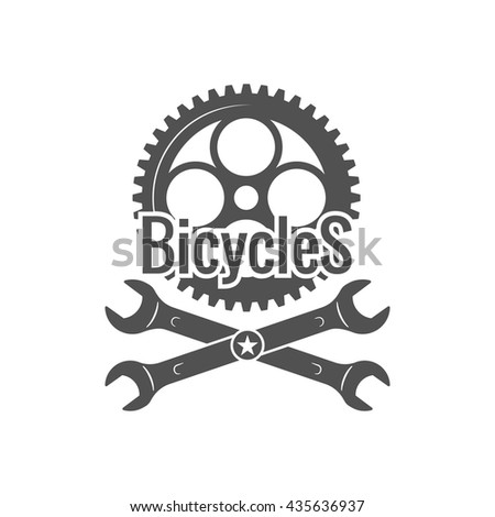 Vintage bike repair logo badges and labels. Cycle wheel isolated vector. Old style bicycle shop and repair logotypes - stock vector