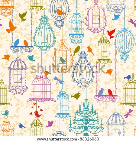 Vintage birds and birdcages collection. Pattern. Wallpaper. - stock vector