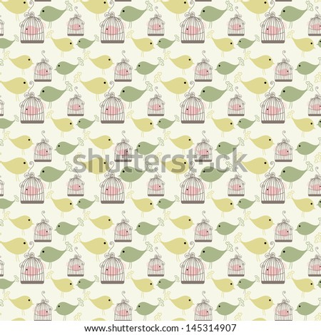 Vintage birds and birdcages collection. Seamless pattern. Wallpaper. - stock vector