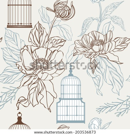 Vintage birds and birdcages pattern. Wallpaper. vector eps10 - stock vector