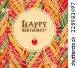 Vintage birthday card - stock vector
