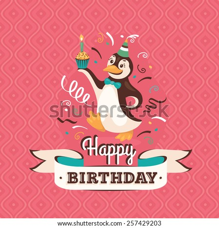 Vintage birthday greeting card with a penguin holding a cupcake on retro background - stock vector