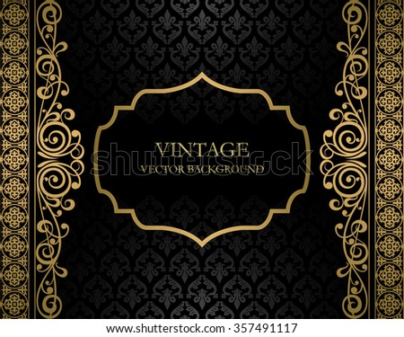 Vintage black and golden vector background - stock vector