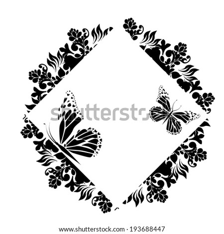Vintage black and white floral frame with butterfly. Vector  - stock vector