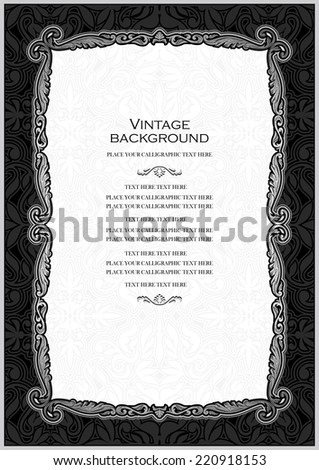 Vintage black background, antique silver frame, victorian ornament, beautiful brochure, certificate, award's and diploma's layout, book cover, floral luxury ornamental pattern, achievement template - stock vector