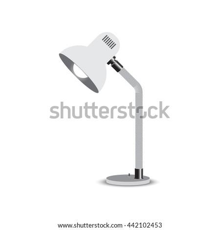 Vintage black desk lamp isolated on white background - stock vector