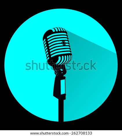 Vintage black silhouette retro stage microphone - web icon in circle frame. old technology concept, flat and shadow theme design sign, vector art image illustration, isolated on light blue background - stock vector