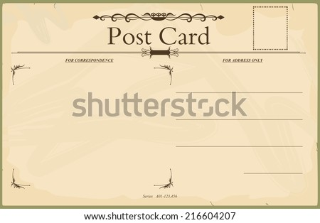 Vintage blank reverse of postcard in the style of the early 20th century. Standard size aspect ratio. Vector base to add any text and textures. No gradients.  - stock vector