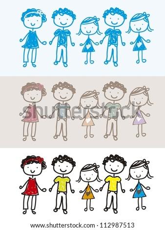 vintage, blue and colorful children background. vector illustration - stock vector