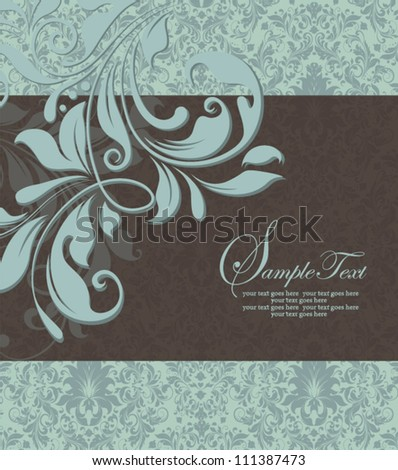 vintage blue damask invitation with floral elements - stock vector