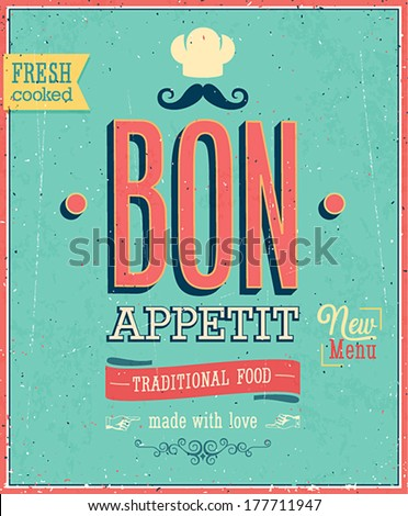 Vintage Bon Appetit Poster. Vector illustration. - stock vector