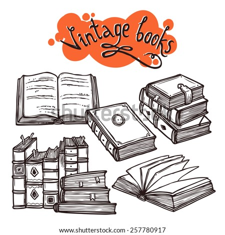 Vintage books sketch decorative set black and white vector illustration - stock vector