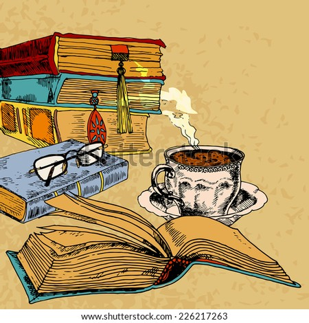 Vintage books with cup of coffee colored sketch decorative concept vector illustration - stock vector