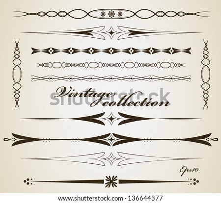 Vintage border and separator collection - stock vector