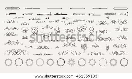Vintage borders, frame and rosette in set. Wicker lines and old decor elements in vector.  Vector page decoration. Decoration for logos, wedding album or restaurant menu. Calligraphic design elements - stock vector