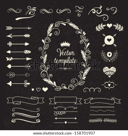 Vintage borders set - stock vector