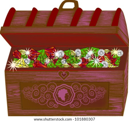 Vintage box full of jewels - stock vector