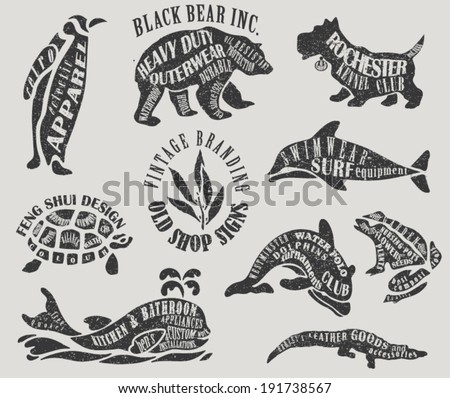 Vintage Branding and Marketing Labels - Textured animal-shaped advertisement signs for outerwear, water polo club, apparel, gardening, etc.  - stock vector