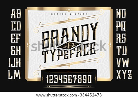 Vintage Brandy Label Typeface with classic ornate and pattern - stock vector