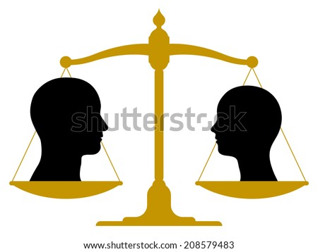 Vintage brass scale with male and female heads on the pans showing balance - stock vector