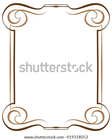 Vintage brawn multilayer vertical vector frame with swirls - stock vector