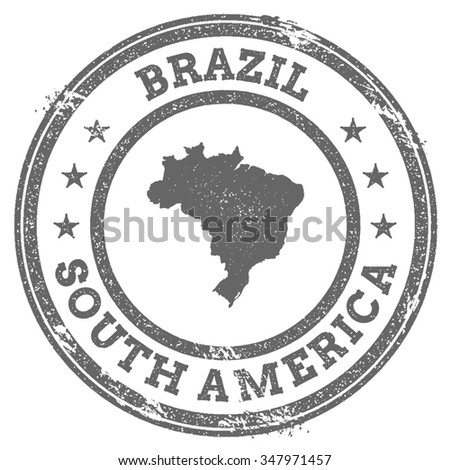 Vintage Brazil stamp with continent name. Grunge rubber stamp map with South America and Brazil text, vector illustration - stock vector