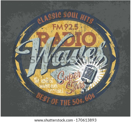 Vintage broadcasting signboard - Vector artwork in custom colors for boy apparel, grunge effect in separate layer - stock vector