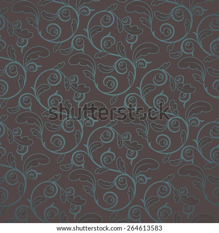 Vintage Brown And Blue Seamless Floral Pattern With Clipping Mask - stock vector