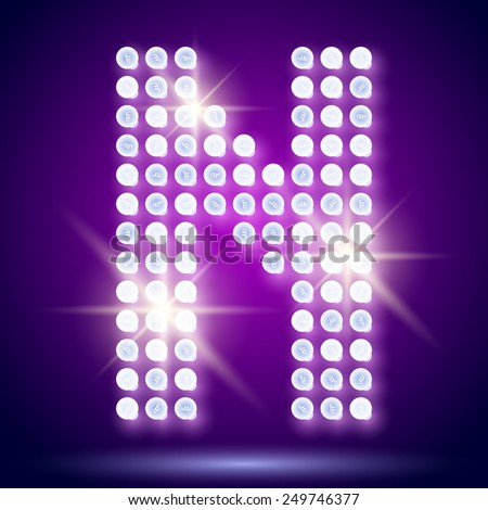 Vintage bulb lamp realistic font of 80s disco with stars. Letter N - stock vector