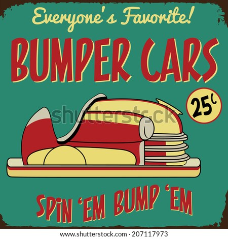 Vintage Bumper Cars Amusement Park Rusted Sign - stock vector