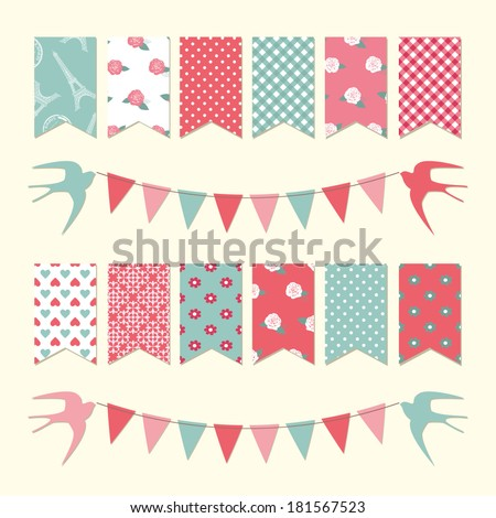 Vintage bunting flags and garland set for scrapbook and holidays design.  - stock vector