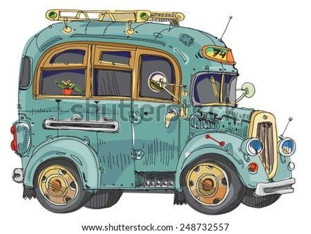 vintage bus - cartoon  - stock vector
