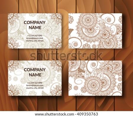 Vintage business cards set. Ornamental mandala. Indian, arabic ornaments. Mehndi henna tattoo design. Business card vector design template. - stock vector