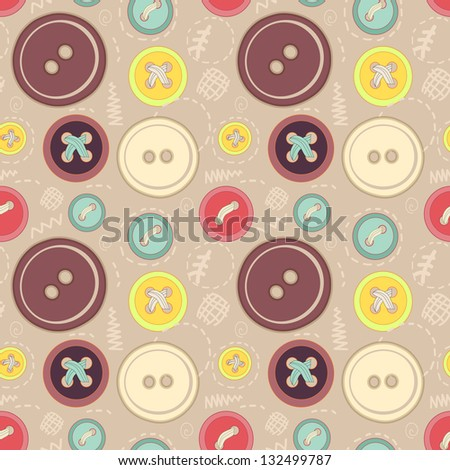 Vintage buttons sew seamless pattern for your web design - stock vector