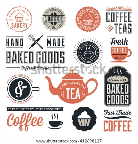 Vintage Cafe and Bakery Designs - Set of vintage labels and design elements. Colors are global and each design is grouped for easy editing.   - stock vector