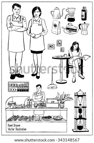 Vintage Cafe Objects. Hand drawn vector illustrations. - stock vector