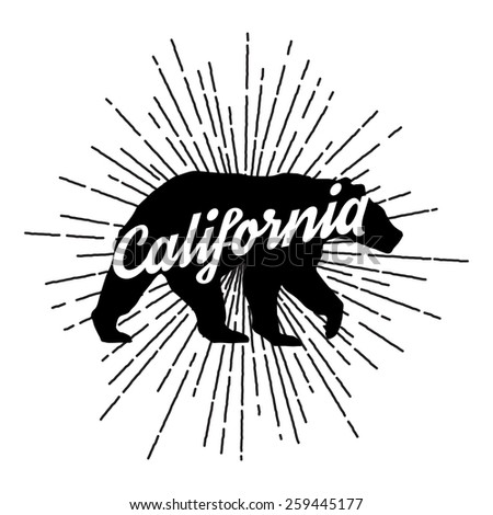 Vintage California bear with sunbursts - stock vector