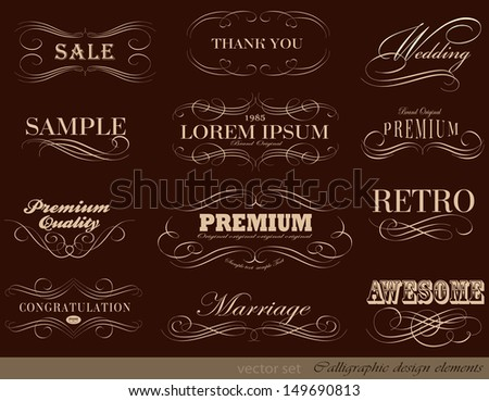 vintage calligraphic design elements and page decoration set/ vector collection - stock vector