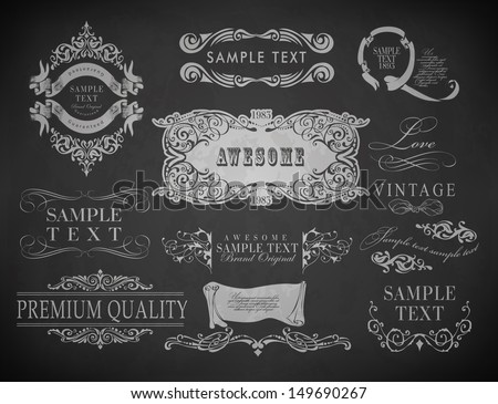 Vintage calligraphic design elements, page decoration and labels of drawing with chalk on blackboard - stock vector