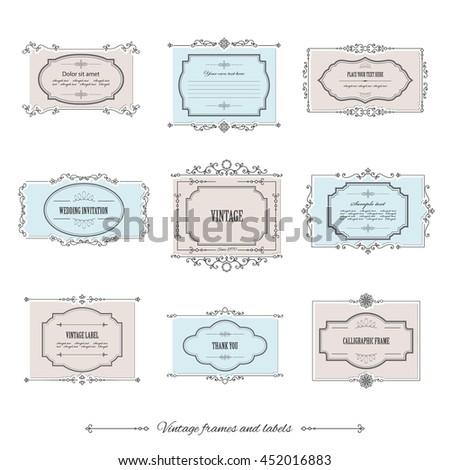Vintage calligraphic frames and labels set. For invitation card, certificate, scrapbook, wedding design. - stock vector