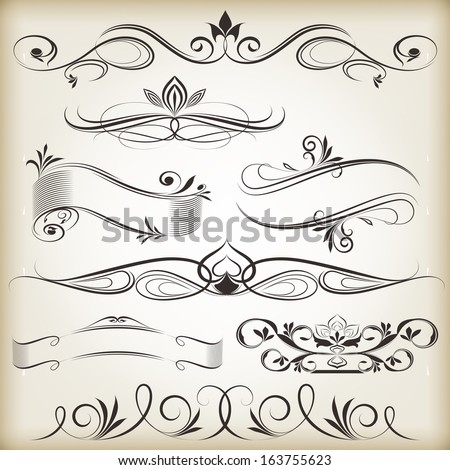 Vintage calligraphic vector design elements isolated on beige background. - stock vector