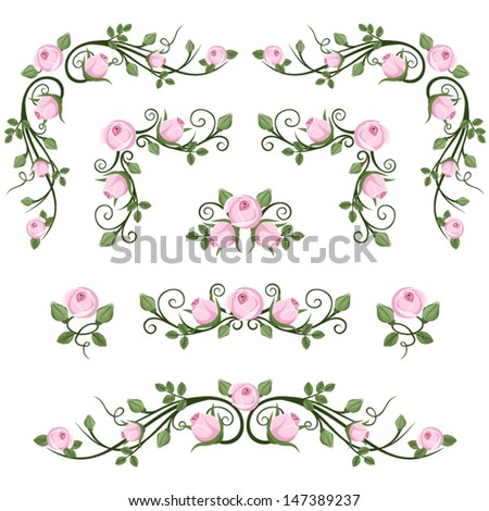 Vintage calligraphic vignettes with pink roses. Vector illustration. - stock vector