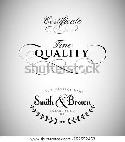 vintage calligraphy labels - stock vector