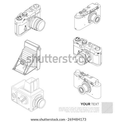 Vintage camera collection - stock vector