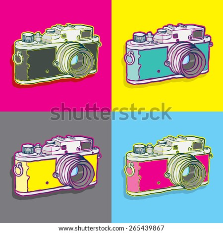 vintage camera pop art style - stock vector