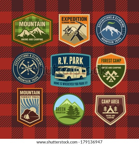 Vintage camping and hiking badges  - stock vector