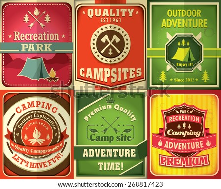 Vintage camping poster design set - stock vector